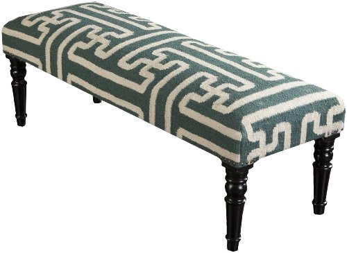 Surya FL1012-461618 Bench, 16 by 46 by 18-Inch, Teal/Ivory - 1