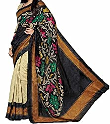 RGR Enterprice Woman's Bhagalpuri Designer Saree (Amisha Flower_Multi-Coloured_Free Size)