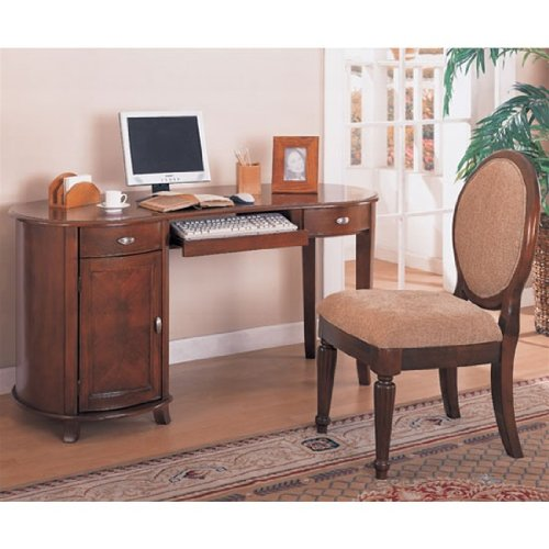 Picture of Comfortable 2 Piece Home Office Set with Kidney Shaped Computer Desk in Cherry Finish - Coaster Co. (B003XR9ZUI) (Computer Desks)