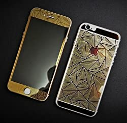 Kapa 3D Diamond Pattern Mirror Front + Back Tempered Glass Screen Protector for Apple Iphone 6 6S - Gold