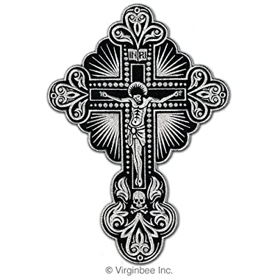 JESUS CHRIST CROSS SKULL CHRISTIAN TATTOO SILVER METALLIC PATCH SIZE L