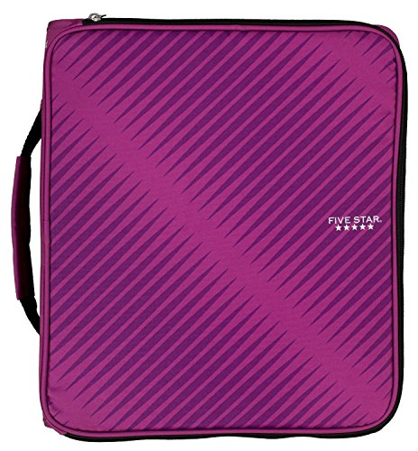 five-star-2-durable-zipper-binder-includes-6-pocket-expanding-file-berry-pink-purple-72540