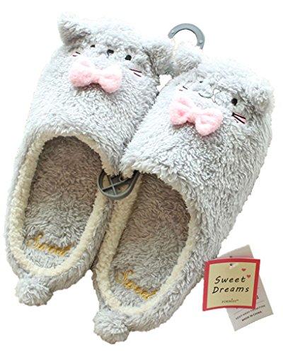 Minetom Donne Pantofole Calde Autunno Inverno Morbido Scarpe Antiscivolo Casa Bowknot Cartone Animato Slippers Grigio EU 39