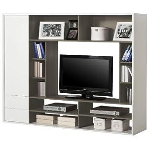 Parete soggiorno porta televisore attrezzata bianco grigio - Porta televisore a muro ...