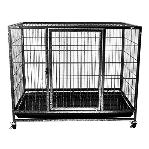 "Heavy Duty Dog Animal Cage W/ 2 Doors & Tray Pan - 37"" Or 43"" Length (Large)"