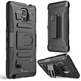 Galaxy Note 4 Case, i-Blason Prime Series Dual Layer Holster For Samsung Galaxy Note 4 [SM-N910S] with Kickstand and Locking Belt Swivel Clip (Black)