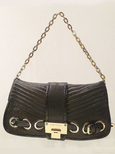 Details for Jimmy Choo Black Python Leather Bag Clutch Baguette Purse.M