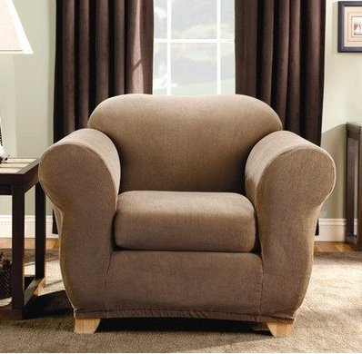 Sure Fit Stretch Stripe 2-Piece Chair Slipcover, Brown front-762177