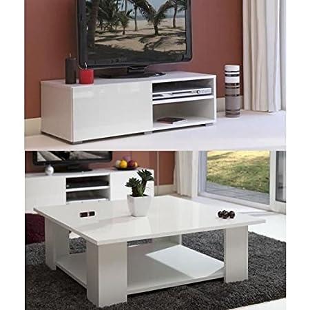 LIME Salon complet laqué blanc 2 pieces 1 meuble TV 96cm + 1 table basse carrée