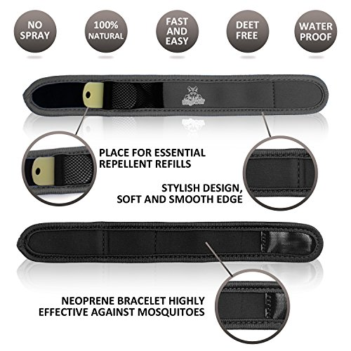 Natural Mosquito Repellent Bracelet with 4 Refills by BeigeWolf Uses All-Natural Lavender Oil, Black (Drive Slow Cats compare prices)