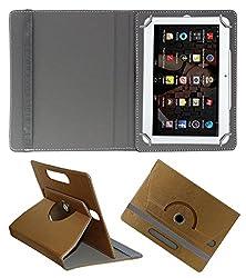 Acm Designer Rotating 360° Leather Flip Case For Iball Slide 3g 1026-Q18 Tablet Stand Premium Cover Golden