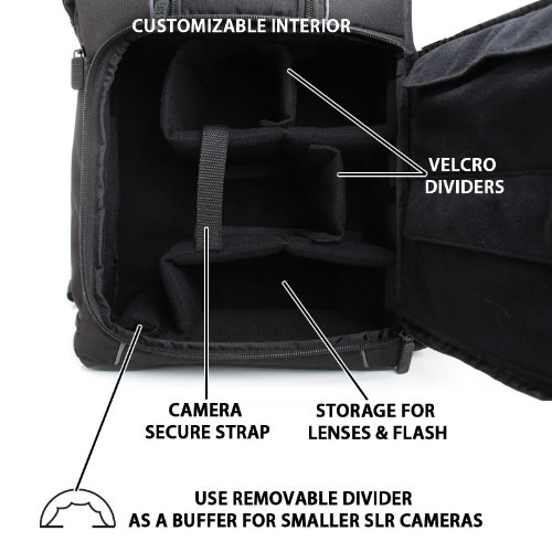 """Professional Gear Backpack for Digital SLR Canon Cameras , up to 17"""" Laptops and Device Accessories- Works with Canon EOS Rebel SL1 , T5i , T4i , T3i , T2i , 70D , 100D , 700D , 6D & More DSLR , Micor Four Thirds , Point and Shoot Cameras , Video Cameras , Lens Kits , Tripods , etc!"""