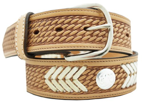 """Hand Laced Basketweave Belt 1 1/2"""" w/ Hand laced design & accent silver conchos. Antique Natural, Size 50"""