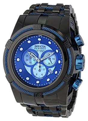 Invicta Men's 12751 Bolt Reserve Chronograph Blue Mother-Of-Pearl Dial Black Ion-Plated Stainless Steel Watch