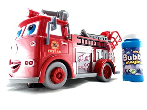 Lvnv Toys@ Fire Engine Truck Bubble Machine Blower Solution Birthday Party Bubbles Toy (Red Birthday Blowers compare prices)