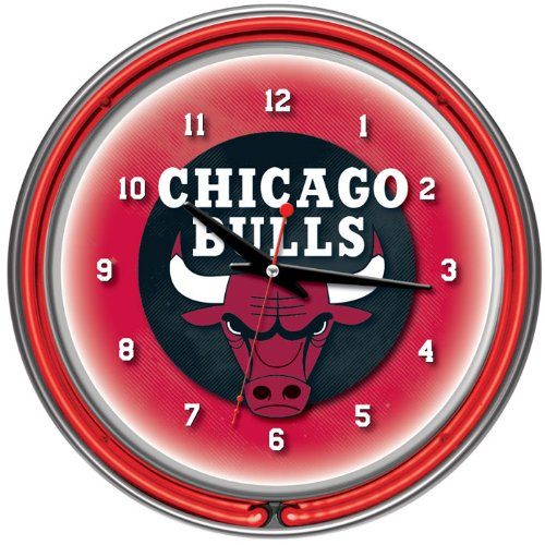 Chicago Bulls NBA Chrome Double Ring Neon Clock, 14-Inch, Red