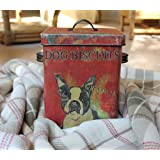 Creative Co-op Boston Terrier Dog Treat Tin Box Bucket Shabby Cottage Chic