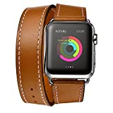 Picture Of Apple Watch Band, Cara Genuine Leather Strap Wrist Band Replacement Clasp for Apple Watch & Sport & Edition(42mm Brown)