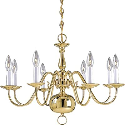 Progress Lighting P4357-10 8-Light Americana Chandelier with Delicate Arms and Decorative Center Column and Candelabra Lamps, Polished Brass by Progress Lighting