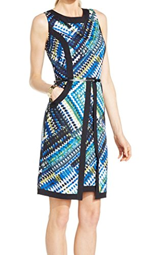 Ellen Tracy Printed Womens Belted Pocketed Sheath Dress