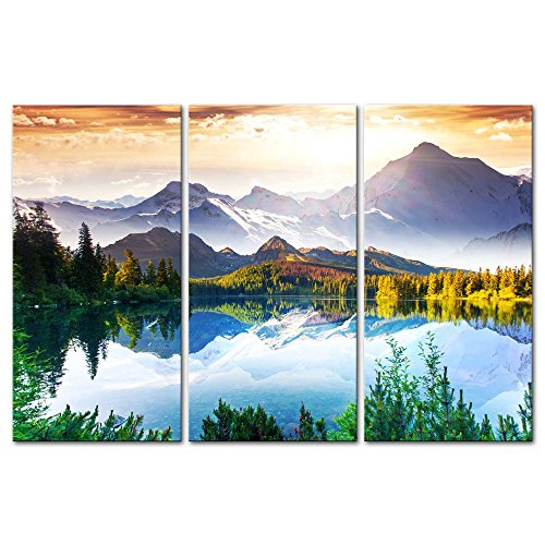 3 Pieces Modern Canvas Painting Wall Art The Picture For Home Decoration Fantastic Sunny Day Is In Mountain Lake Beauty World Landscape Mountain&Lake Print On Canvas Giclee Artwork For Wall Decor (Wall Decor Nature compare prices)