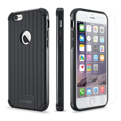 iPhone 6 Case, iPhone 6s Case PowerMoxie® with [Tempered Glass Screen Protector] Heavy Duty Dual Layer Slim Fit Protection Cover for iPhone 6/6s (Black/Black) (Dual Protection compare prices)