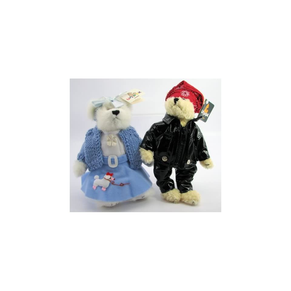50s Style Poodle Skirt Girl and Greaser Plush Teddy Bear Friends