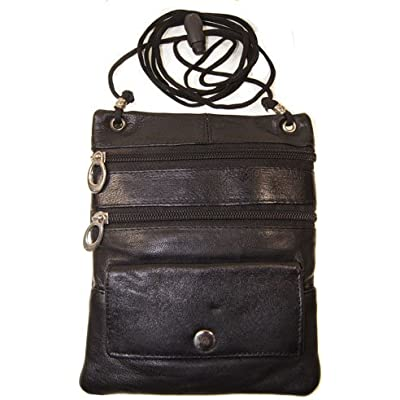 Improving Lifestyles Leather Crossbody Bag Small with Adjustable Rope Toggle Cord with FREE Organza Gift Bag SUN 015 BK - BLACK