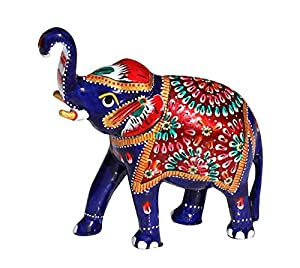 Elephant decor 5 1 large trunk up metal elephant good luck sculpture figurine Elephant home decor items