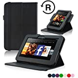 Kindle Fire HD 7 (2012 Version) Case - ACcase Amazon Kindle Fire HD7 (2012 Previous Model) Case - Detachable 360 Degrees Rotating PU Leather Cover Case for Kindle Fire HD 7(2012 Version) with Auto Sleep Wake Function) - Black