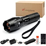 Moobibear® MD002 Tactical Flashlight with Adjustable Focus Handhold CREE LED Flashlight, Super Bright Torch, Batteries Included, Zoomable LED Tactical Flashlights