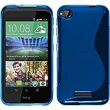 Silikon Hülle für HTC Desire 320 - X-Style blau - Cover PhoneNatic Schutzhülle + Schutzfolien