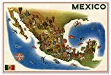 "Mapa Pictorico de Mexico - Pictoral MAP of Mexico by Luis Covarrubias circa 1960 - measures 24"" high x 36"" wide (610mm high x 915mm wide)"