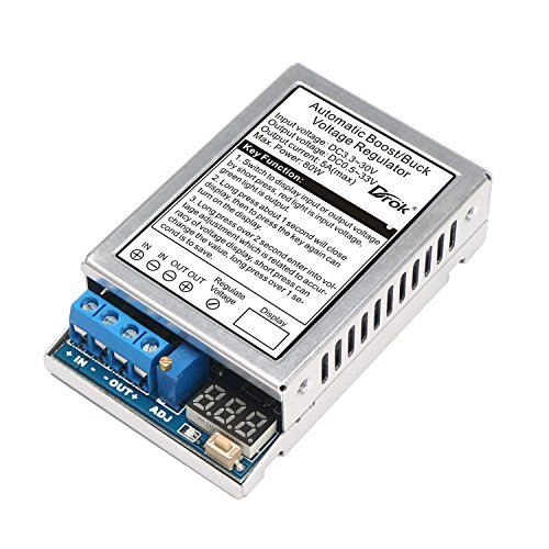 DROK 180050 DC-DC 80W Auto Boost Buck Voltage Regulator Stabilizer 5A 3.3V-30V to 0.5V-33V LED Display Volt Stabilizer Transformer Adjustable Output (Voltage Regulator 5a compare prices)