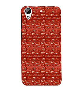Fuson Premium Back Case Cover Circle pattern With Red Background Degined For HTC Desire 728g Dual::HTC Desire 728G::HTC Desire 728