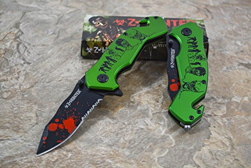 Z Hunter Assisted Opening Outdoor Hunting Tactical Rescue Pocket Zombie Design Knife