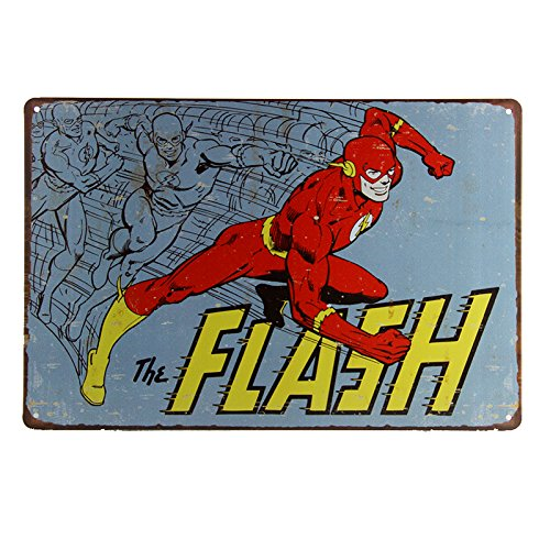 The Flash Vtg Retro Metal Poster TIN Sign Comics Superhero Wall Decor 1959