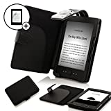 Forefront Cases Leather Case Cover Wallet with LED Reading Light, Stylus and Screen Protector for Amazon Kindle 4 - Black