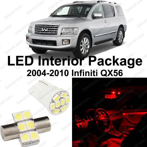 Splendid Autos Brilliant RED LED Infiniti QX56 Interior Package Deal 2004 - 2010 (11 Pieces) (Infiniti Qx56 Accessories compare prices)