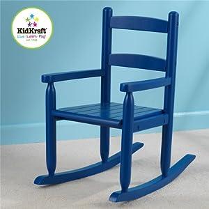 KidKraft Home Indoor Kids Size Decorative 2-Slat Design Wooden Comfortable Portable Rocker Chair Blue by KidKraft