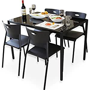 ダイニングテーブル 5点セット 4人掛け ガラステーブル スタッキングチェア ブラック