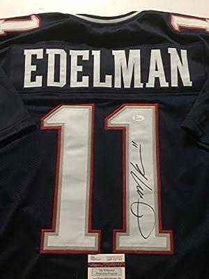 Autographed/Signed Julian Edelman New England Patriots Blue Football Jersey JSA COA