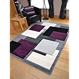 Tempo Silver Purple Square Design Thick Quality Modern Carved Rugs. Available in 6 Sizes (160cm x 220cm)