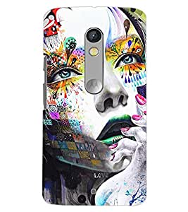 PrintDhaba COLOURFUL FACE D-6774 Back Case Cover for MOTOROLA MOTO X PLAY (Multi-Coloured)