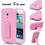 E-LV Matte Flexible TPU (Thermoplastic Polyurethane) Case Cover Skin With Adjustable and Removable Back Stand for Samsung Galaxy S3 MINI i8190