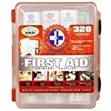 First Aid Kit With Hard Case- 326 pcs- First Aid Complete Care Kit - Exceeds OSHA & ANSI Guidelines - Ideal for the Workplace - Disaster Preparedness (Colors May Vary)