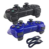 Deloke Wireless Bluetooth Controller For PS3 Double Shock - Bundled with USB charge cord (Blue and Black)