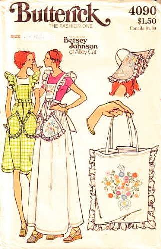 Butterick 4090 Designer Pattern By Betsey Johnson Of Alley Cat Pinefore/Apron With Detachable Bib, Hat, Purse With Embroidery, Sewing Pattern Vintage front-697993