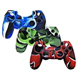 XFUNY Pack of 3 Color Controller Anti-Slip Silicone Protective Case Skin Protector Cove with Thumb Grip JoyStick Cap Cover for PlayStation 4 Gaming Controller - Camouflage