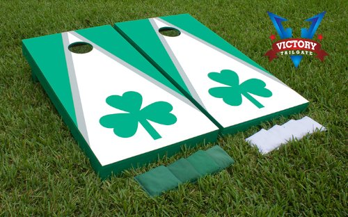 WHITE & GREEN Matching Triangle Set w/Shamrock